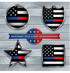 police and firefighter american flags emblem vector image