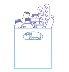 rectangular paper bag with handle and foods vector image