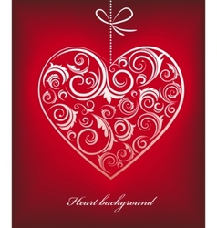 Retro red patterned heart vector