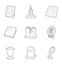 Ritual service icons set outline style vector