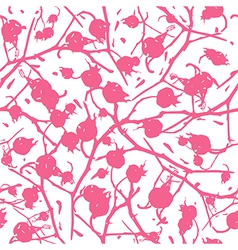 Rosehip branches with berries seamless pattern vector