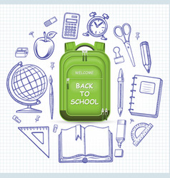 schoolbag with the set of school supplies vector image