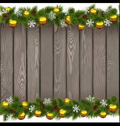 Seamless Christmas Old Board with Golden Balls vector image