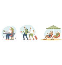 senior age family traveling vector image