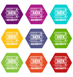 Server data security icons set 9 vector