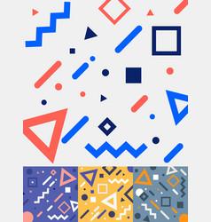 set geometric trendy fashion memphis style vector image