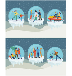 set of family winter activities in ball vector image