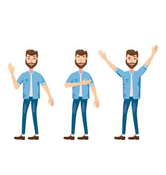 set of male facial emotions bearded man emoji vector image