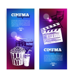 Set of movie cinema banners vector