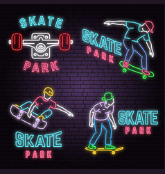 Set of neon skate park sign on brick wall vector