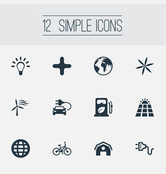 Set of simple green icons vector