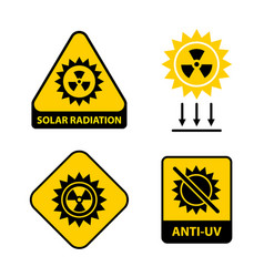 Set solar radiation icons vector