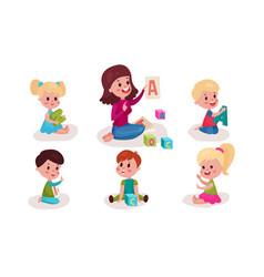 Set with nursery-teacher showing to preschoolers vector