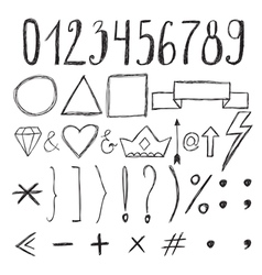 Sketch design elements Numbers Set of hand drawn vector