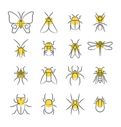 sketch linear insect icons with yellow details vector image