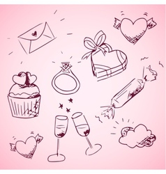Sketchy valentine day icons vector image