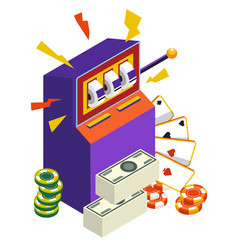 slot machine and play cards casino and gambling vector image