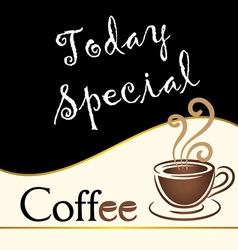 special coffee today written on blackboard vector image