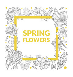 spring flowers banner template with beautiful wild vector image