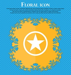 Star Favorite Floral flat design on a blue vector