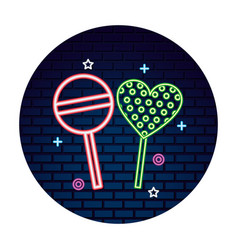 Sweet candy lollipops heart bright neon vector