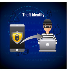 Theft identity hacker laptop hacking mobile data vector