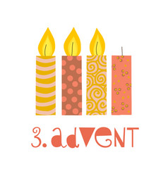 Three burning advent candles vector