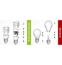 Unit of energy-saving lamps vector