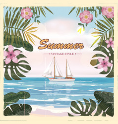 vintage seaside summer view poster seascape ship vector image