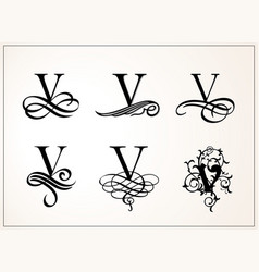 Vintage set capital letter v for monograms and vector