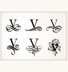 vintage set capital letter v for monograms vector image