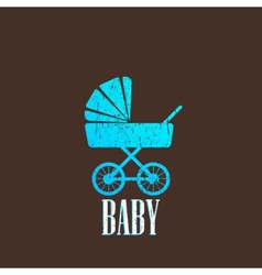 vintage with a baby pram vector image