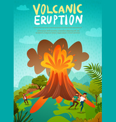 Volcano eruption background vector