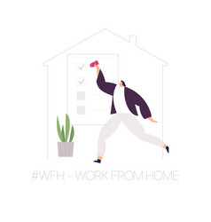 wfh - work from home home office an employee vector image