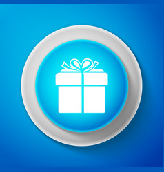 white gift box icon isolated on blue background vector image