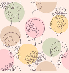 Women faces and color circle vector