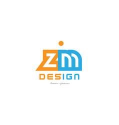 Zm z m orange blue alphabet letter logo vector