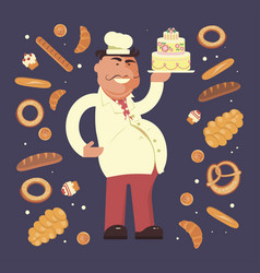bakery shop and chef vector image vector image
