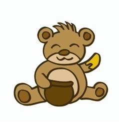 Bear and honey cartoon for kids vector