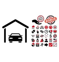 Car Garage Flat Icon with Bonus vector image