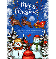 christmas greeting card with snowman and santa vector image