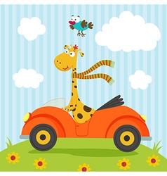 giraffe and bird go by car vector image vector image