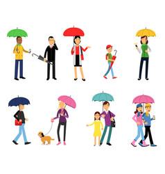 People under umbrella set men and women walking vector
