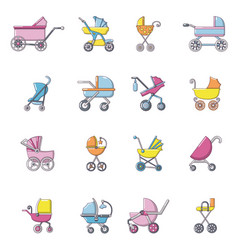 baby carriage icons set cartoon style vector image vector image