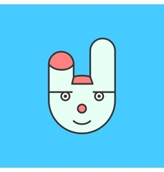 Funny white rabbit character icon on blue vector image vector image