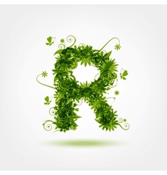Green eco letter R for your design vector image