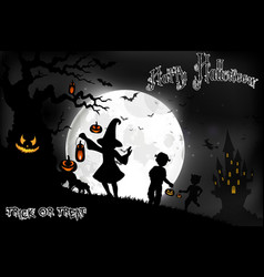 Halloween background on the full moon vector
