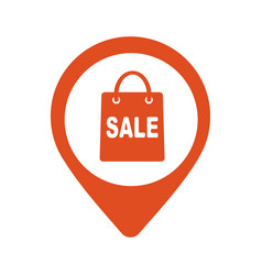 map pointer with shopping bags icon vector image