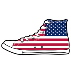 modern sport shoes with USA flag vector image