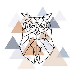 Owl geometric head scandinavian style vector